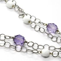 Silver 925 Necklace, Amethyst, Agate White, Heart Pendant, Chain Two Row image 4
