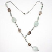 SILVER 925 NECKLACE, aquamarine oval, quartz smoke oval and round, PENDANT image 2