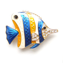 Brooch Butterflyfish Blue Yellow White Tropical Fish Beach Nautical Sparkle Pin - $8.99
