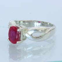 Flux Included Lab Created Ruby Handmade Sterling 925 Silver Ladies Ring size 6.5 - £52.48 GBP