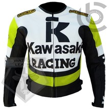 KAWASAKI 1 FLUORESCENT MOTORBIKE MOTORCYCLE COWHIDE LEATHER ARMOURED JACKET - $194.99