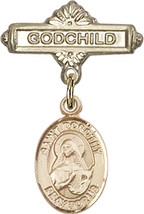 14K Gold Baby Badge with St. Dorothy Charm and Godchild Badge Pin 1 X 5/8 inch - $446.25