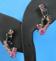 Retro Rhinestones Earrings Pink Black Round And Pear Shape Crescent 1950s Clip P - $20.00