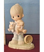 BLESSED ARE THE PEACEMAKERS Figurine Boy w Cat & Dog Precious Moments E3107 - $19.99
