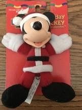 "Mattel Disney Christmas Holiday Cuddly Santa Mickey Plush Vinyl Head New 5"" - $9.93"