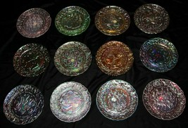 Imperial Glass 12 Days of Christmas Plates Full Set Carnival Glass Vintage - $158.40