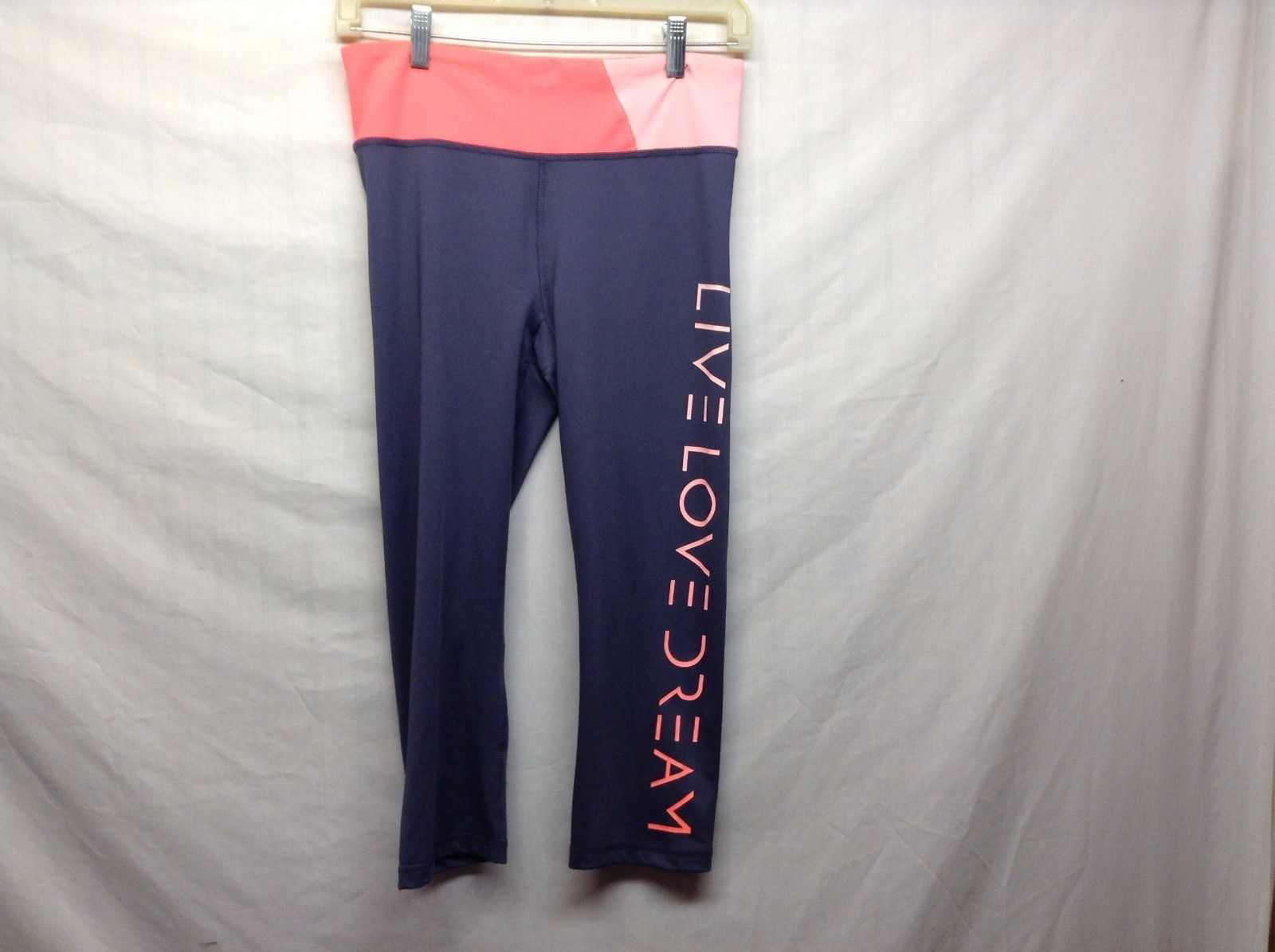 Grey Pink Live Love Dream Stretchy Work Out Pants Sz M