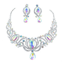 Dia style silver jewelry sets bridal necklace earrings set women wedding party ab color thumb200