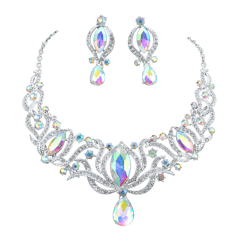 High quality india style silver Jewelry sets bridal necklace earrings set women