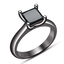 Princess Cut Sim Diamond Solitaire Wedding Ring 14k Black Gold Plated 92... - $67.49
