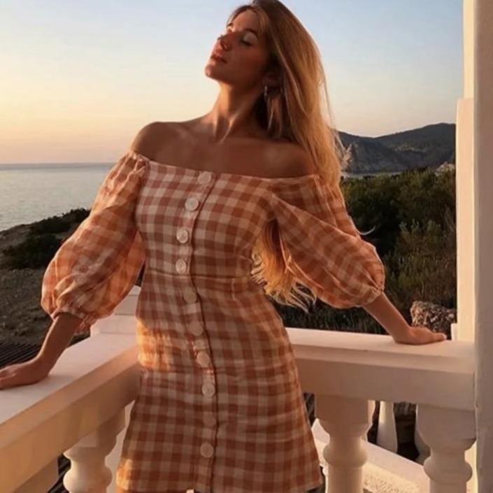 Legant off shoulder plaid short shirt dress summer women lantern sleeve beach dress casual beach