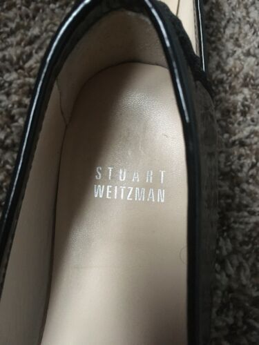 Stuart Weiztman Embellished Flats Black Patent Leather Loafers Size 6 1/2 Wide