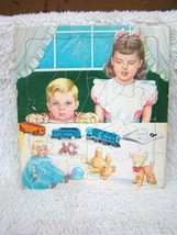Vintage Saafield Cardboard Puzzle #7326 Brother and Big Sister Scene wit... - $10.88
