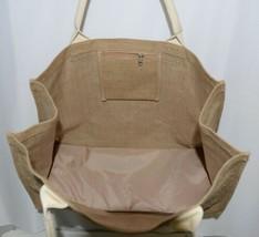 WB M225BURLAP Burlap Tote Bag Reinforced Bottom Color Tan image 2