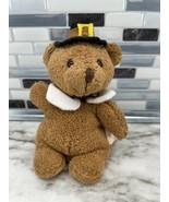 "Russ Berrie & Co. Thanksgiving Plush Brown Bear Pilgrim Hat Collar 5"" - $14.80"
