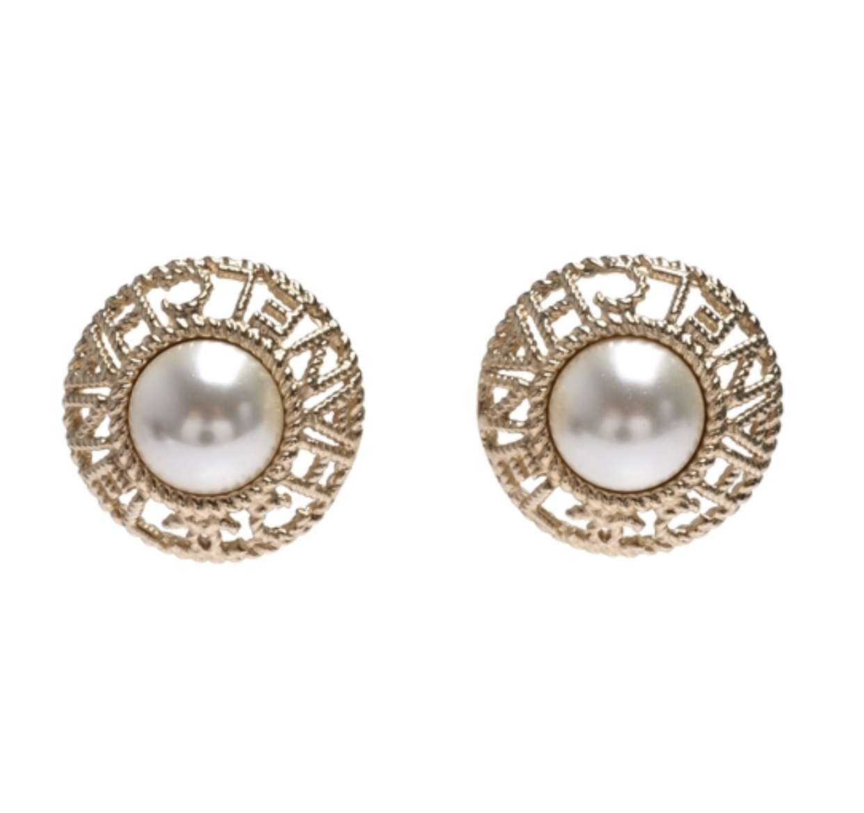 Authentic CHANEL 2019 CC Logo XL Pearl LETTER LOGO STUD Earrings Gold  - $499.99