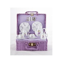 Delton Porcelain Tea Set in Basket, Purple Dancer - $43.85