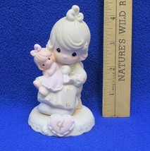 Precious Moments Figurine Age 4 Birthday Gift Girl Holding Baby Doll Por... - $20.68