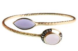 Blossom Box Gold Pl. Rose Quartz Purple Amethyst Cubic Zirconia Bangle Bracelet