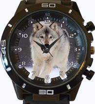 Arctic White Hunter Wolf Trendy Sports Style Unisex Gift Watch - $34.99
