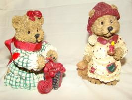Boyds Bears Heart Patch CHRISTMAS TEDDY BEAR FIGURINES Resin Lot 2 1st E... - $5.00
