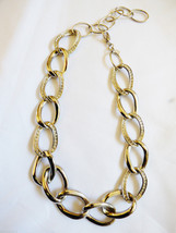 "Park Lane signed silver tone metal & crystal wide chunky link Necklace 20""L - $30.89"