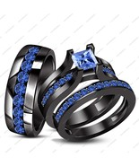 Blue Sapphire 14k Black Gold Finish 925 Silver His & Her Bridal Wedding Ring Set - $175.99
