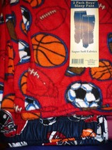 Faded Glory Boy's Fleece & Brushed Jersey Sleep Pants Size Large Red Blu Sports  - $13.85