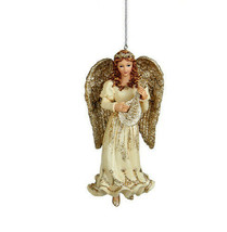 Kurt Adler Hand Painted Platinum Red Haired Angel w/MANDOLIN Christmas Ornament - $12.88