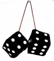 LARGE pair BLACK  FUZZY PLUSH 3 INCH DICE rearview die solf hanging  car... - $6.31