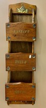 Letter Bills Misc Keys Holder Rack Brown Wood Brass Vintage Gailstyne-Su... - $9.55