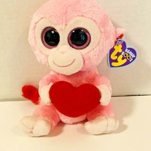 Ty Beanie Boos Plush Julep Pink Monkey with Red Heart Pink Solid Eyes  6... - $13.85