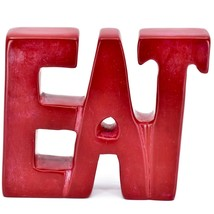 Vaneal Group Hand Carved Soapstone Red EAT Free-Standing Word Kitchen Sign Decor image 1