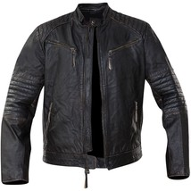 Cafe Racer Vintage Classic Distressed Black Motorcycle Real Leather Jacket image 2