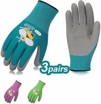 Kids Gardening Gloves 3 Pairs Children Garden Working Foam Rubber XXXS A... - $20.07