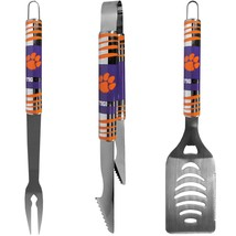 clenson tigers football 3 pc tailgater bbq set stainless steel - $45.12