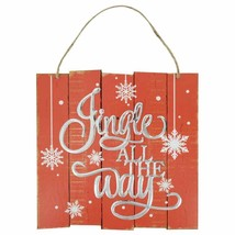 """Jingle All The Way Plank Hanging Sign Decor 10""""X10"""" - $6.50"""