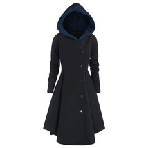 Plus Size Asymmetric Contrast Hooded(MIDNIGHT BLUE L) - $38.27