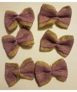 OULII 6 Pcs Burlap Bowknot Set Lace Jute Bows Embellishments for DIY - $5.93