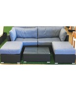 Island Gale® Outdoor Patio Black Rattan Wicker Sectional Sofa Couch Tabl... - $898.98