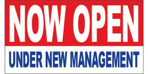 GHP 2'x4' Now Open Under New Management Straight Cut Edges Vinyl Banner Sign w G