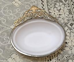 Vintage White Milk Glass With Gold Filigree Design Oval Basket Weave Soa... - $10.25