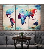 3Pcs Frameless World Map Canvas Painting Abstract Art Wallpaper Pictures... - $13.31