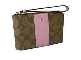 Coach C Signature Logo Wristlet Hand Bag Purse Khaki Blush Pink Corner Z... - ₨3,383.99 INR