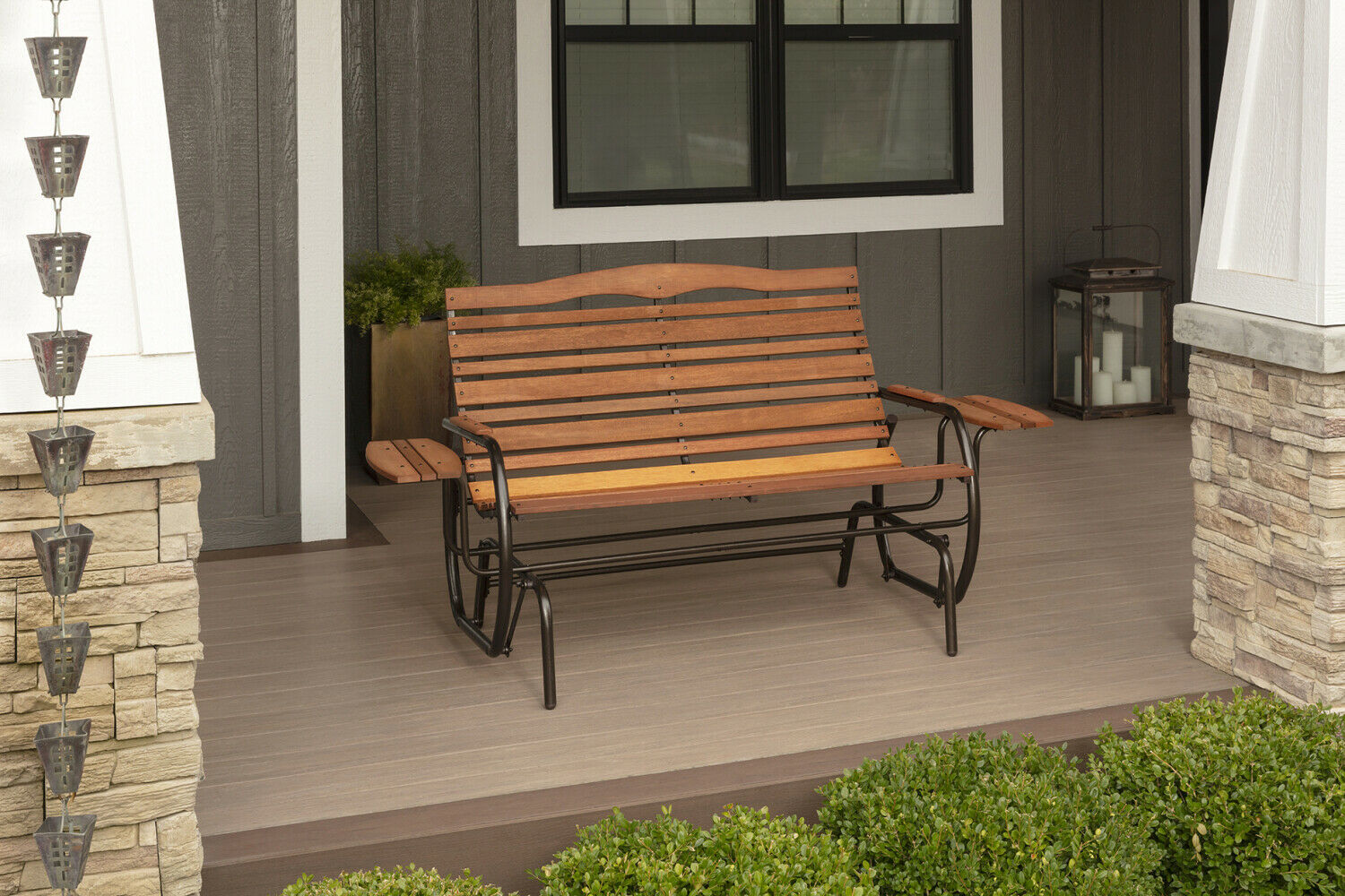 Wood Patio Bench Glider With Trays Outdoor Garden Porch Swing Chair Loveseat image 6