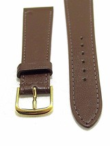 A 20MM GENUINE GLOVE LEATHER WATCH BAND BROWN VINTAGE TAPERED USA - $16.96