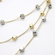 18K YELLOW WHITE GOLD STRAND NECKLACE, MULTI THREE WIRES WITH CUBES, ITALY MADE image 3