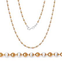 2.5MM Damen Einzigartig 925 Silber 14K Rg Kugel Perle Glieder Diamantsch... - £55.35 GBP+