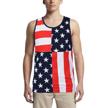 LR Scoop Men's US American Flag Summer Beach Two Tone Slim Fit T-Shirt Tank Top image 4