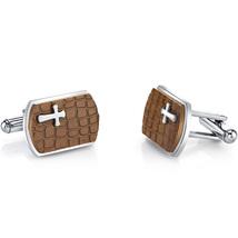 Copper Cobblestone Cross Motif Stainess Steel Cuff links - $59.99